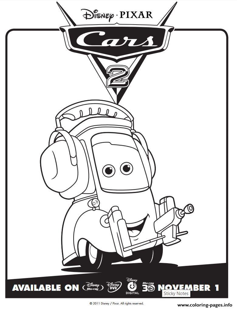 Cars 2 Movie Not Chuck Disney Coloring Pages Printable