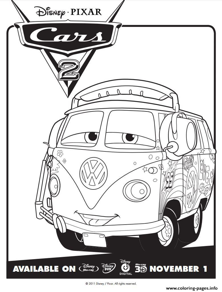 Disney Cars 2 Fillmore Coloring Pages Printable