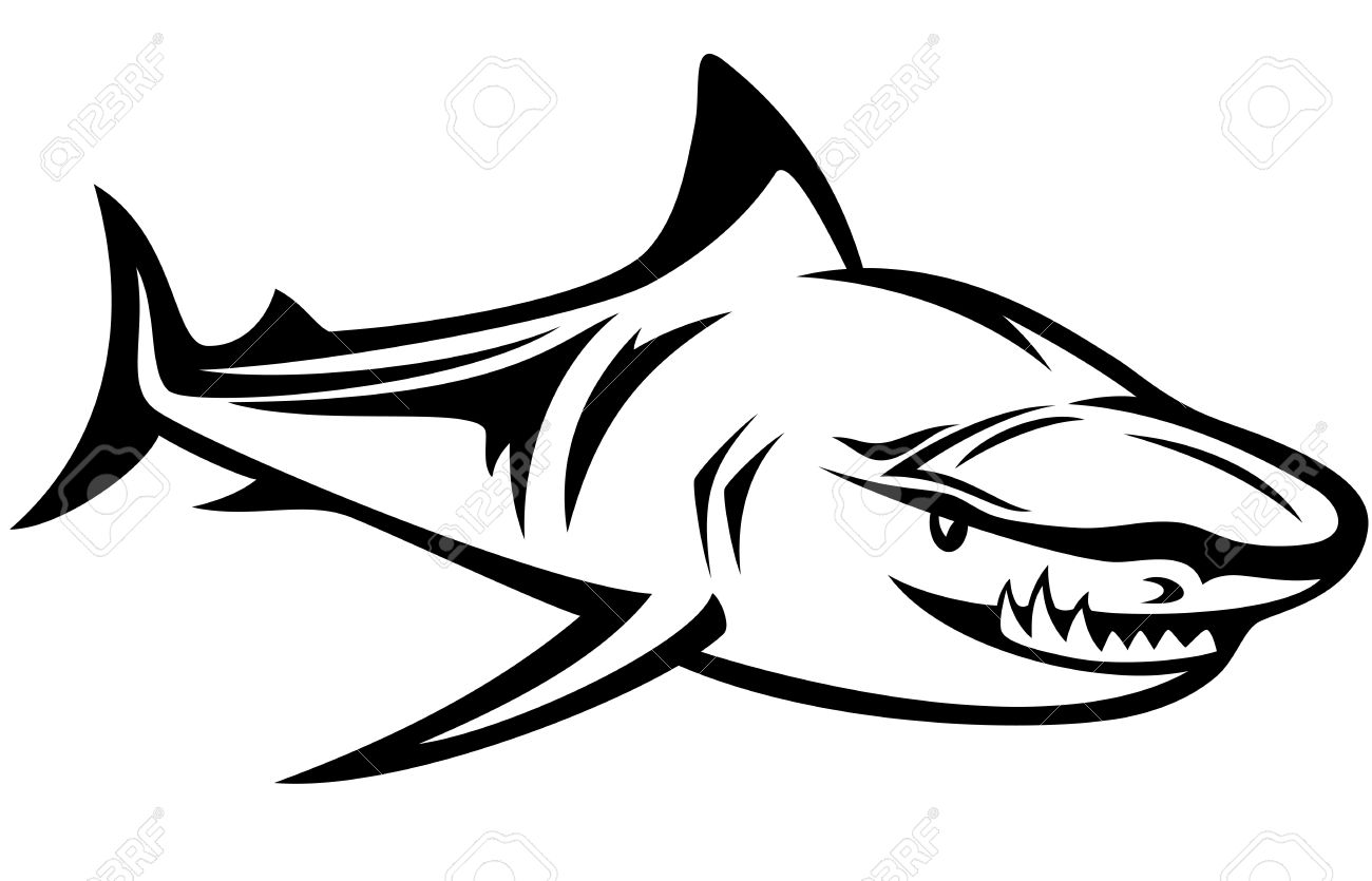 Aggressive Shark Black And White Outline Royalty Free Cliparts