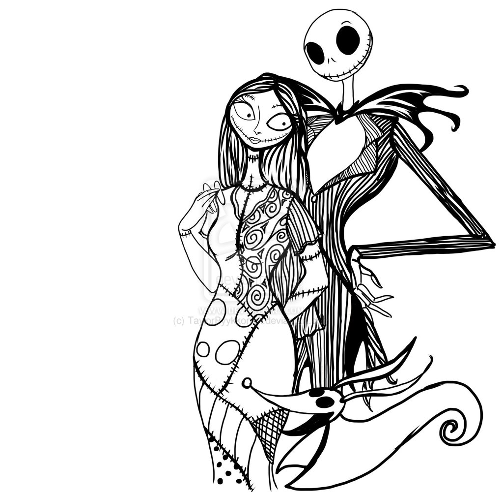 Pix For   Jack And Sally Nightmare Before Christmas Coloring Pages