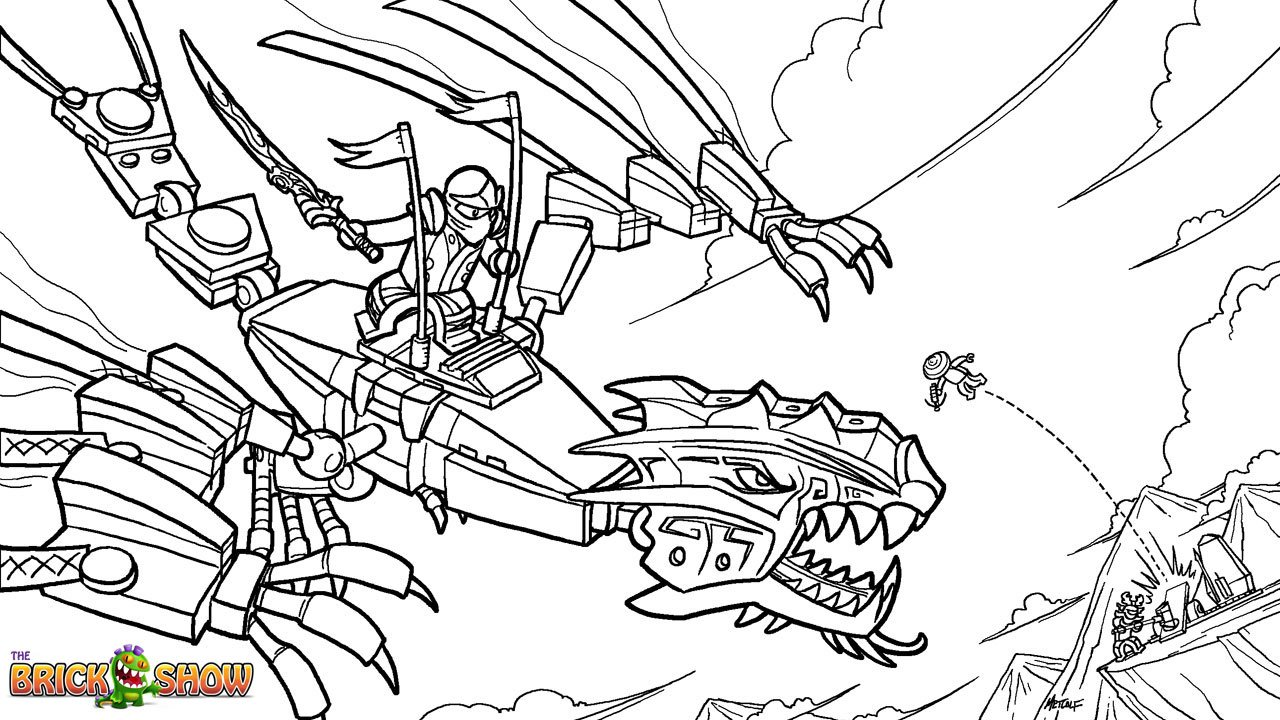 Lego Ninjago Golden Dragon Under Attack! Coloring Page, Printable