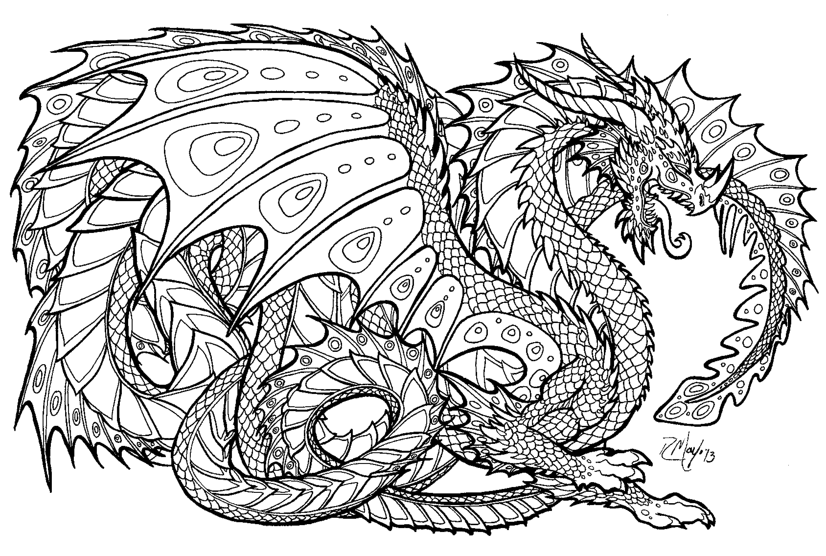 Realistic Dragon Coloring Pages For Adults Coloring Page For Kids