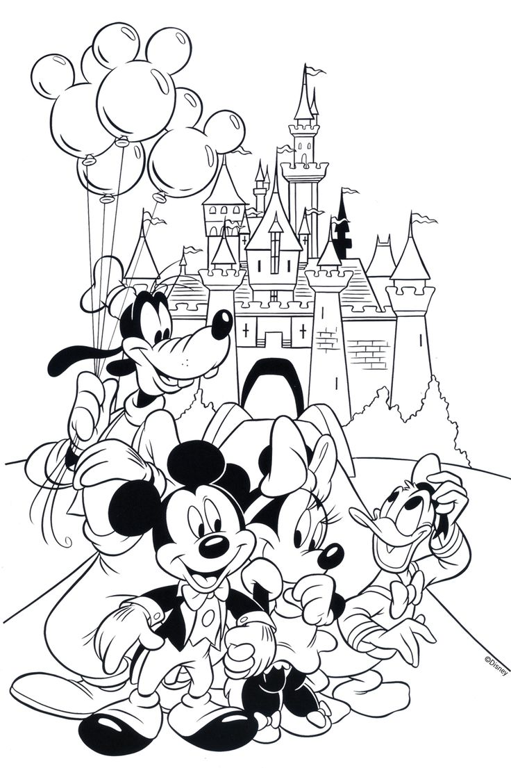 Free Disney Coloring Page Features Cinderella's Castle And All The