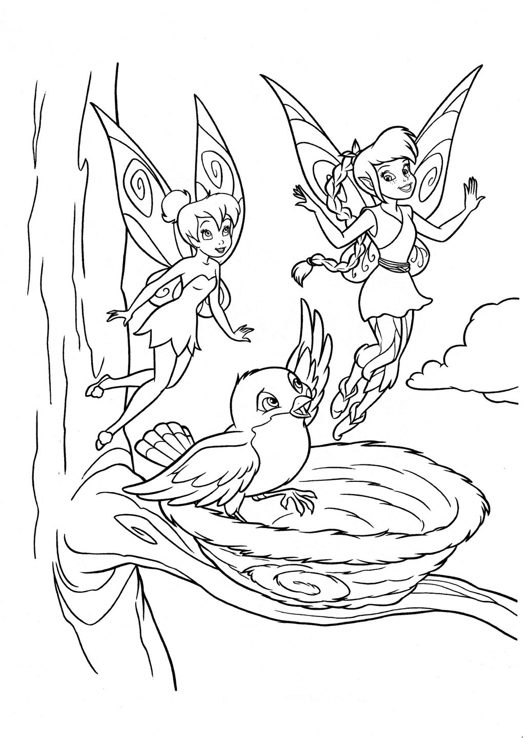 Fairy Fawn And Tinkerbell Coloring Page