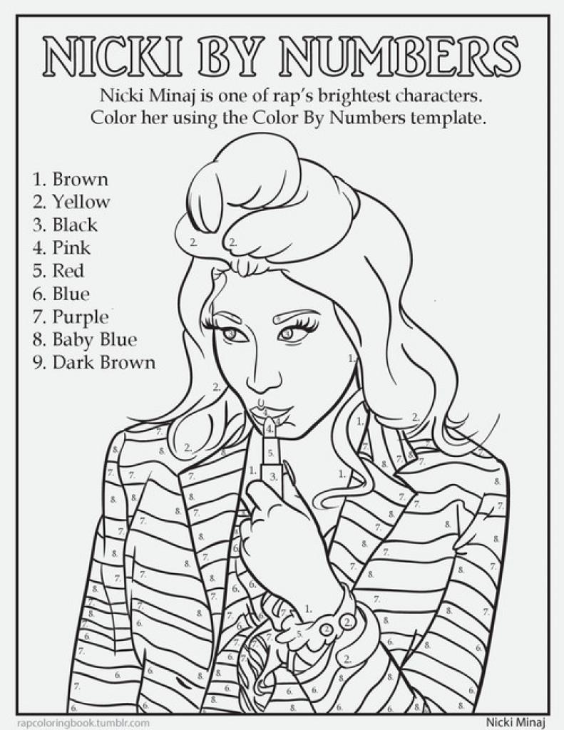 Nicki Minaj Color By Number Coloring Page