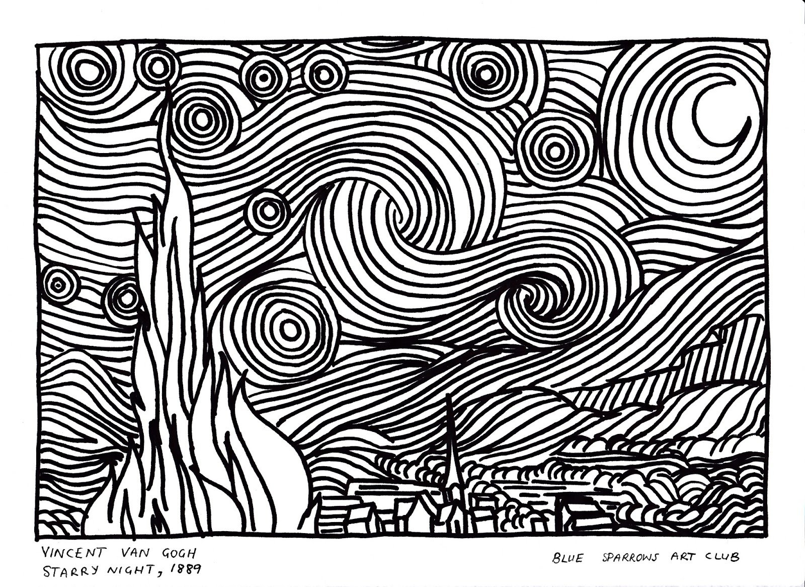 Van Gogh Starry Night Coloring Page, Vincent Van Gogh Starry Night