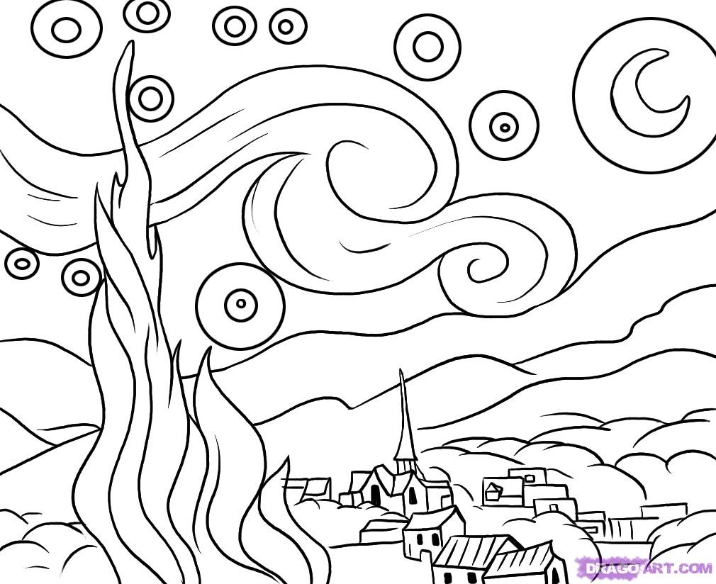 Starry Night By Van Gogh Coloring Page