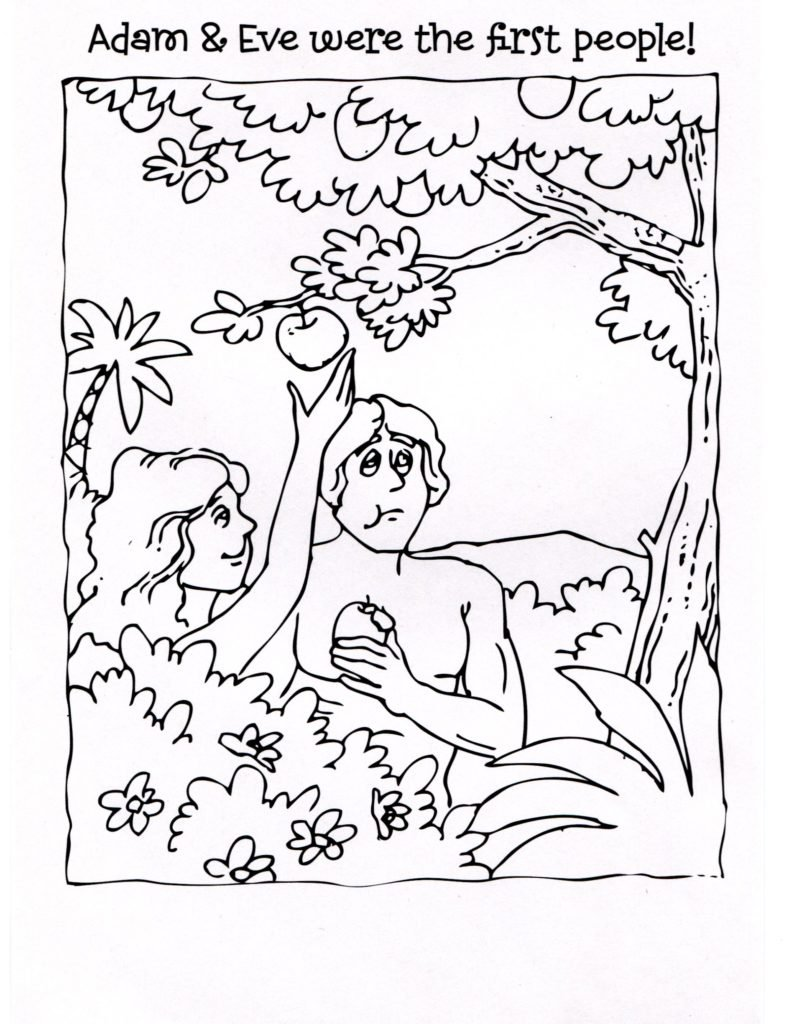 Adam And Eve Coloring Pages Plucking Apple