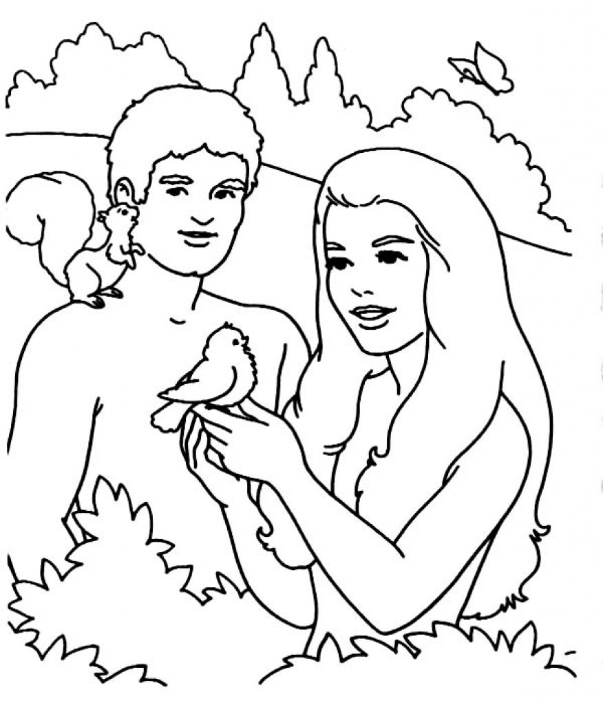 Adam And Eve Coloring Pages Intended For Your Home