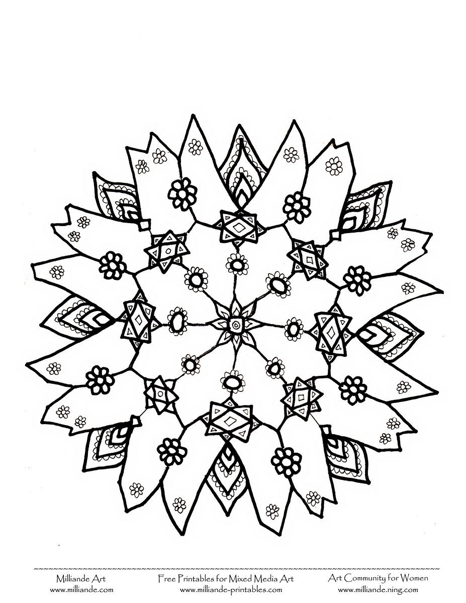 Adult Snowflake Coloring Pages Printable Christmas Snowflakes
