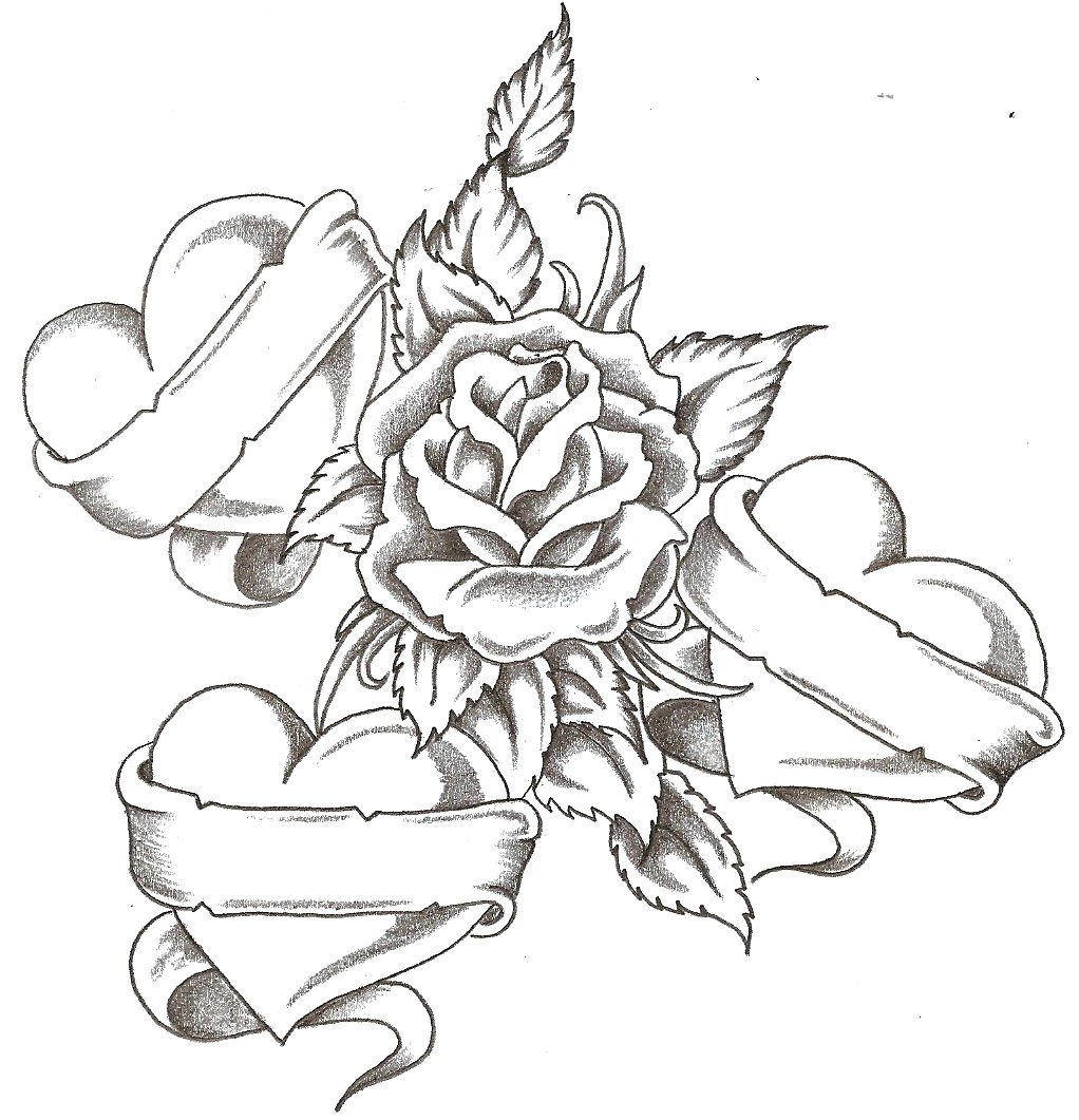 Roses Drawings With Hearts