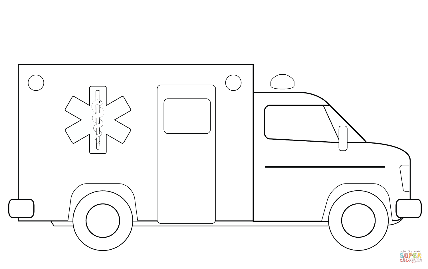 Ambulance Truck Coloring Page