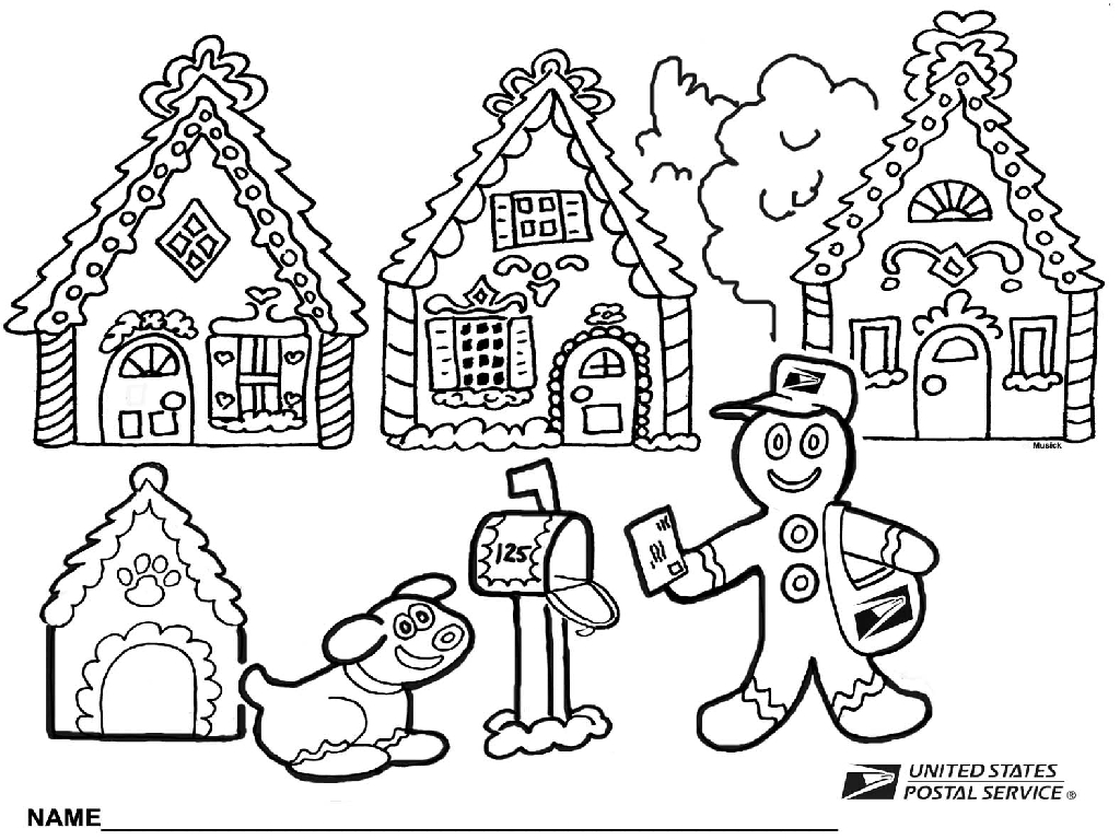 Amusing Gingerbread House Coloring Pages Houses In Online