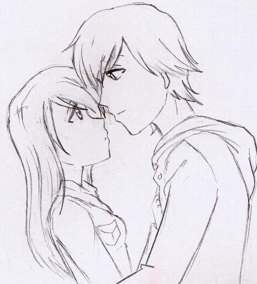 Anime Couple Sketches In Pencil Easy