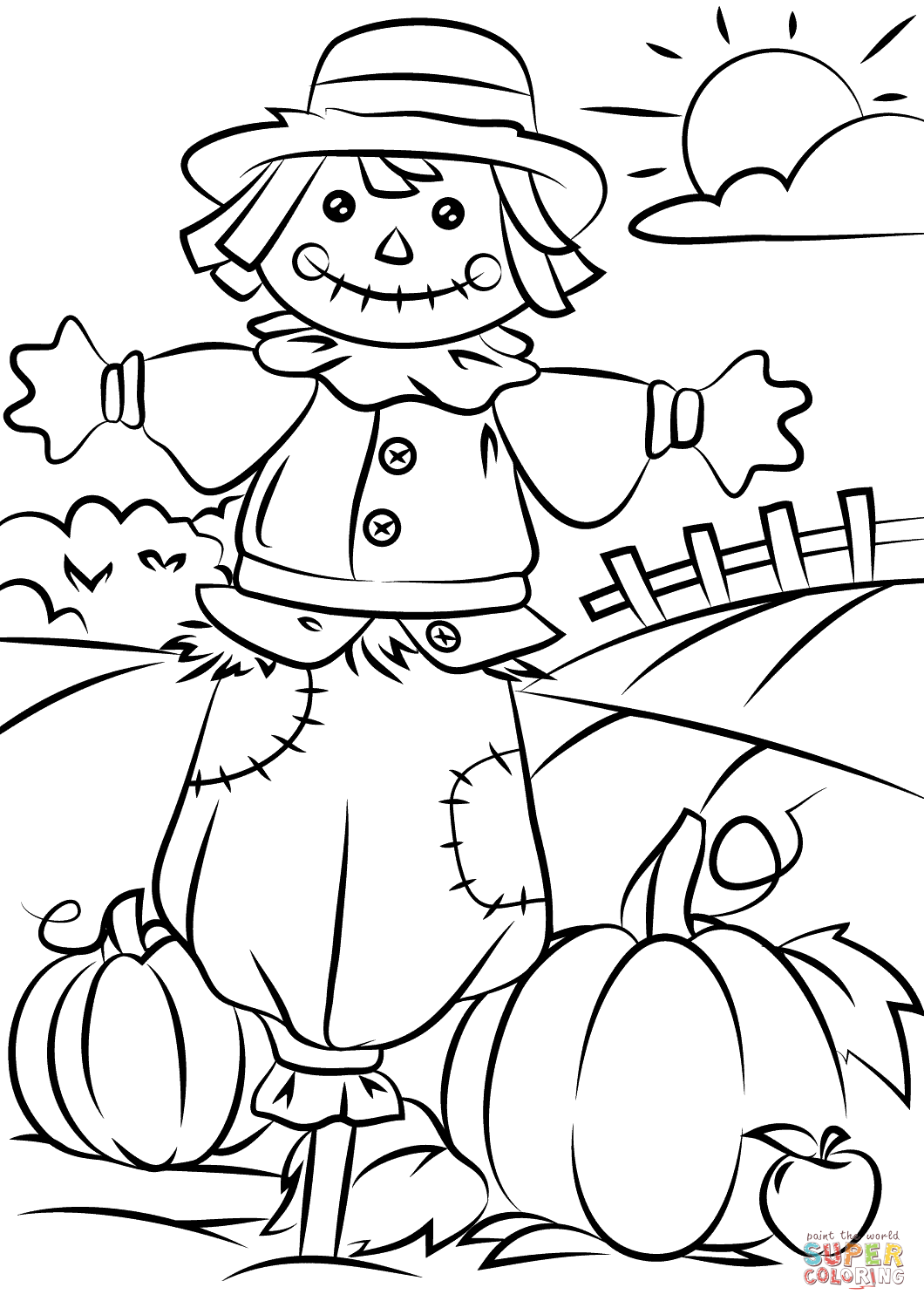 Autumn Scene With Scarecrow Coloring Page Free Printable In Fall