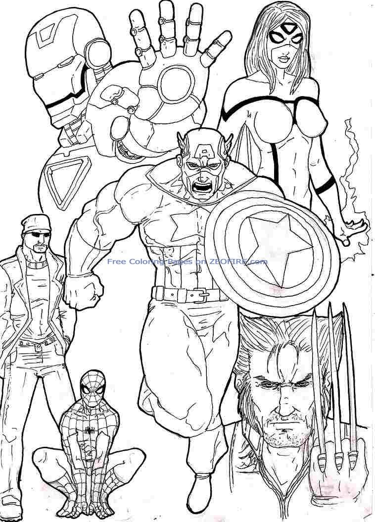 Avengers Printable Coloring Pages Page Throughout