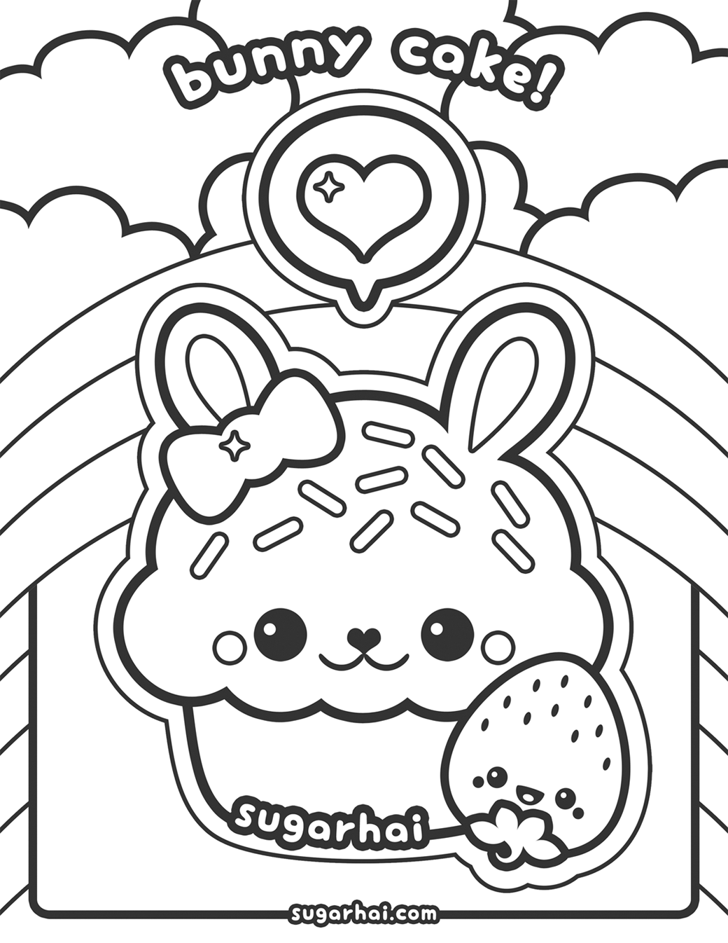 Free Bunny Cake Coloring Page Bunny Cupcakes Bunny And Adult