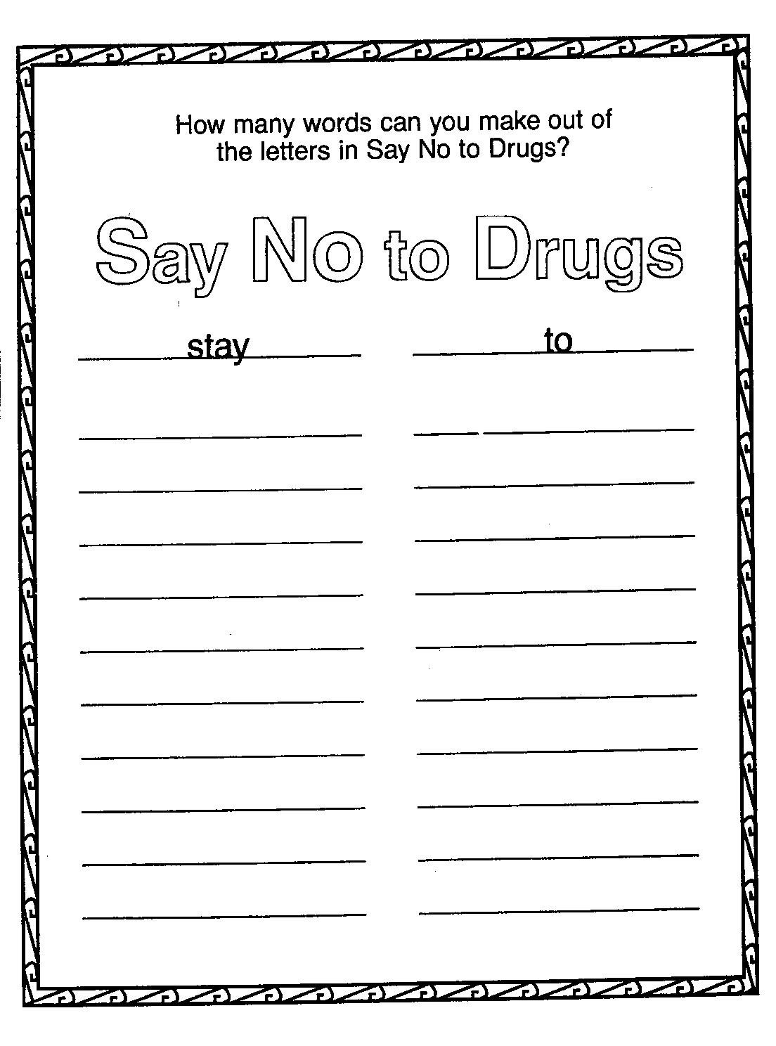 drug red ribbon week coloring pages free 05