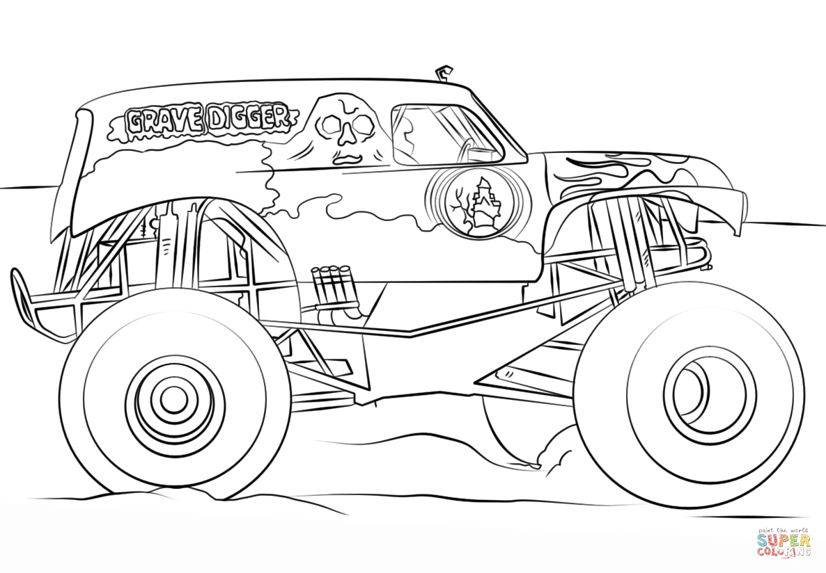 Best Monster Truck Coloring Pages Vector Drawing