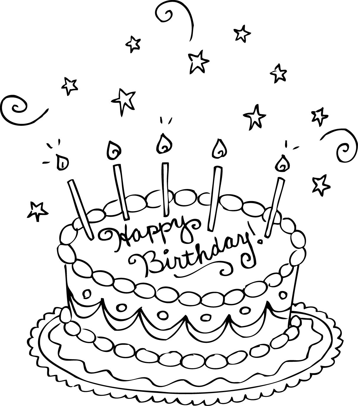 Best Birthday Cake Coloring Pages 70 For Coloring For Kids With