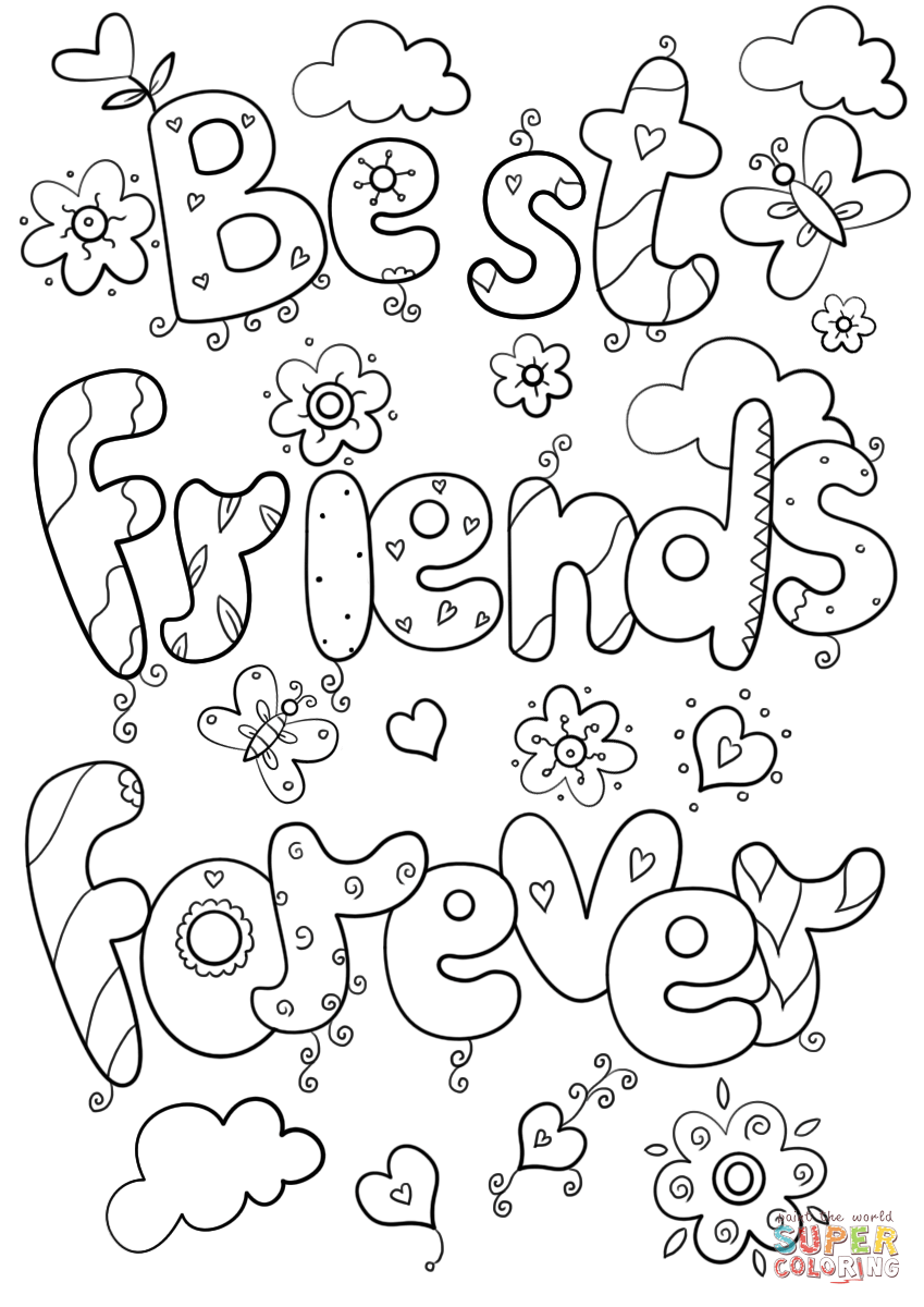 Best Friends Forever Coloring Page
