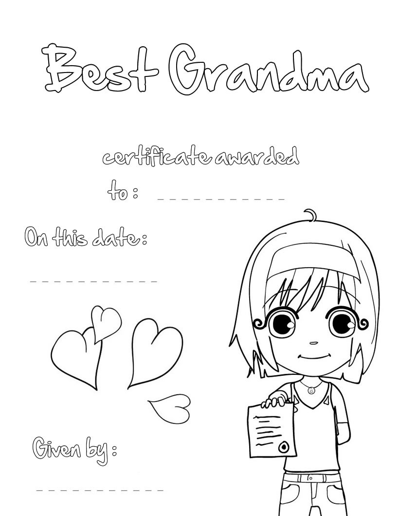 Best Grandma Certificate Coloring Pages