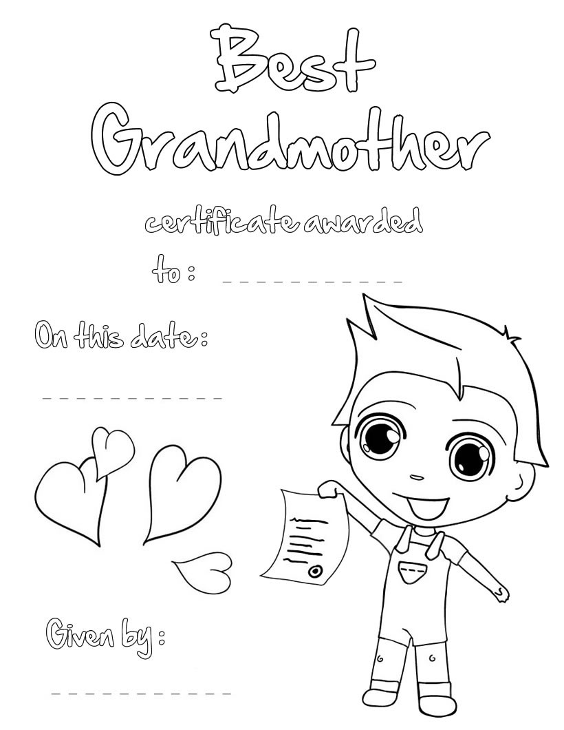 Best Grandmother Certificate Coloring Pages