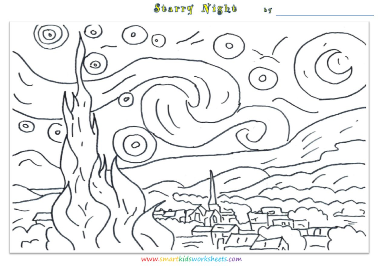 Best Starry Night Coloring Page 66 For Your Picture Coloring Page