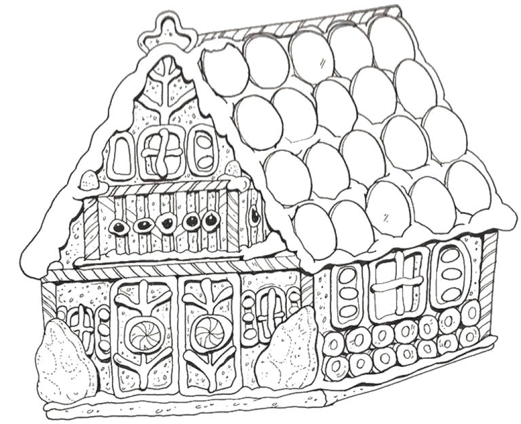Merry Christmas With Gingerbread House Coloring Pages