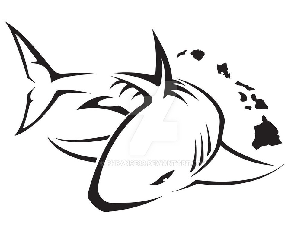 Black Outline Shark Tattoo Design