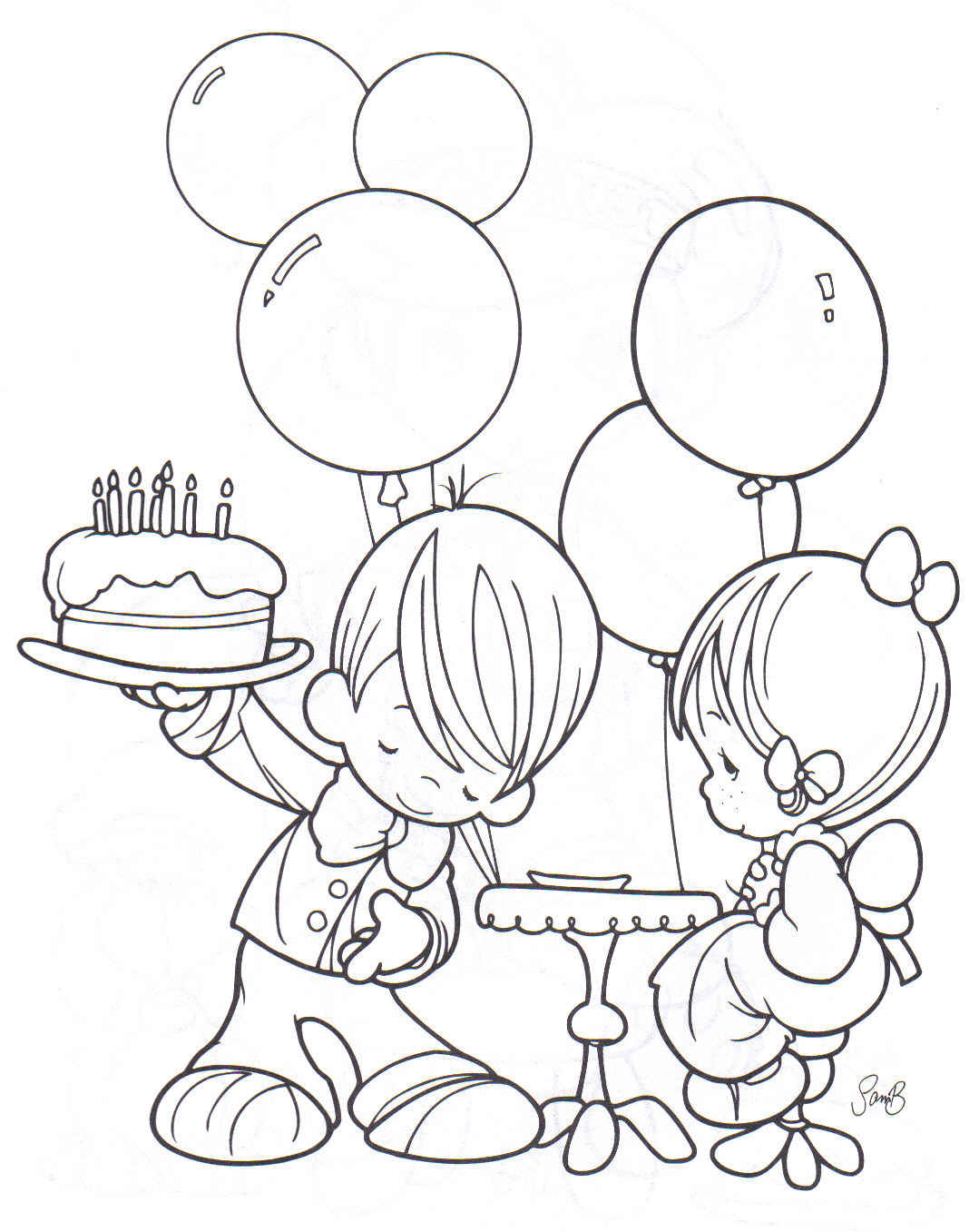 Boy And Girl Free Birthday Coloring Pages