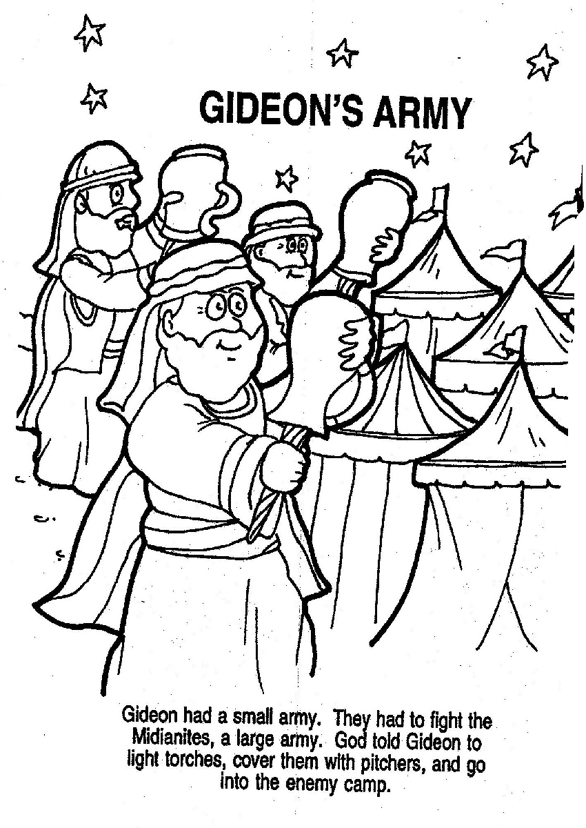 Bible Story Gideon Coloring Pages