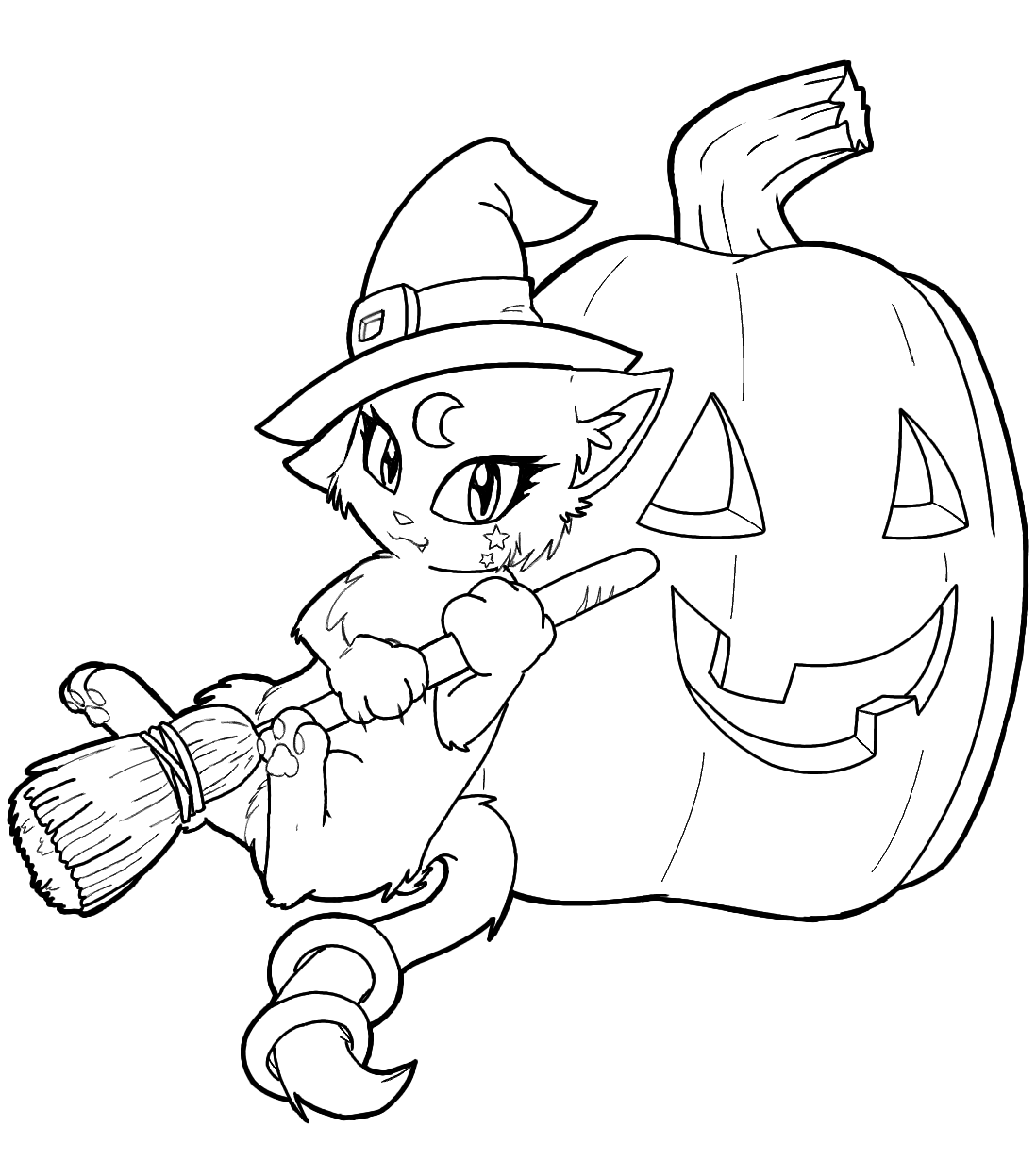 Cat Witch Coloring Pages With Pumpkin