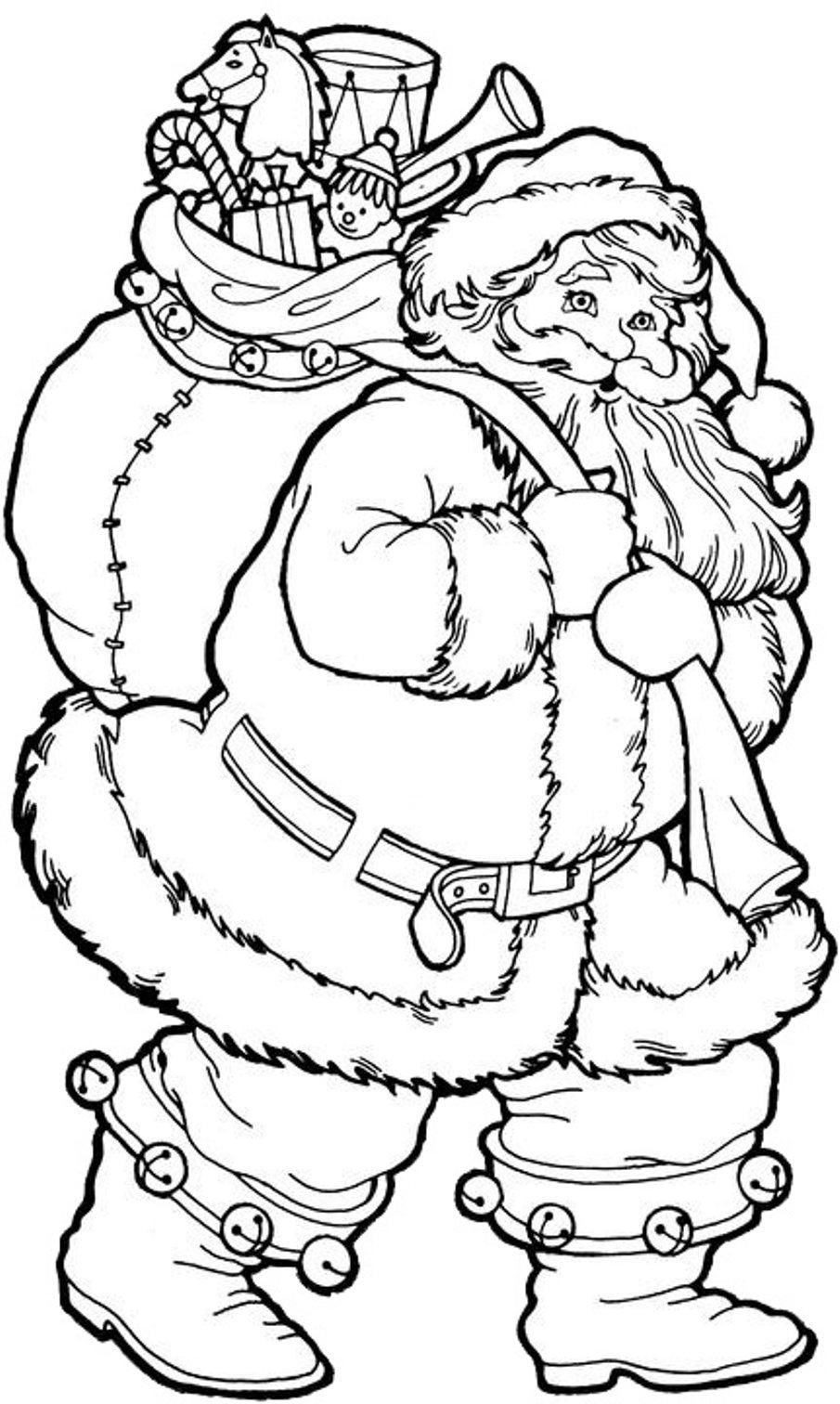 Christmas Coloring Pages Printable Santa With Big Presents