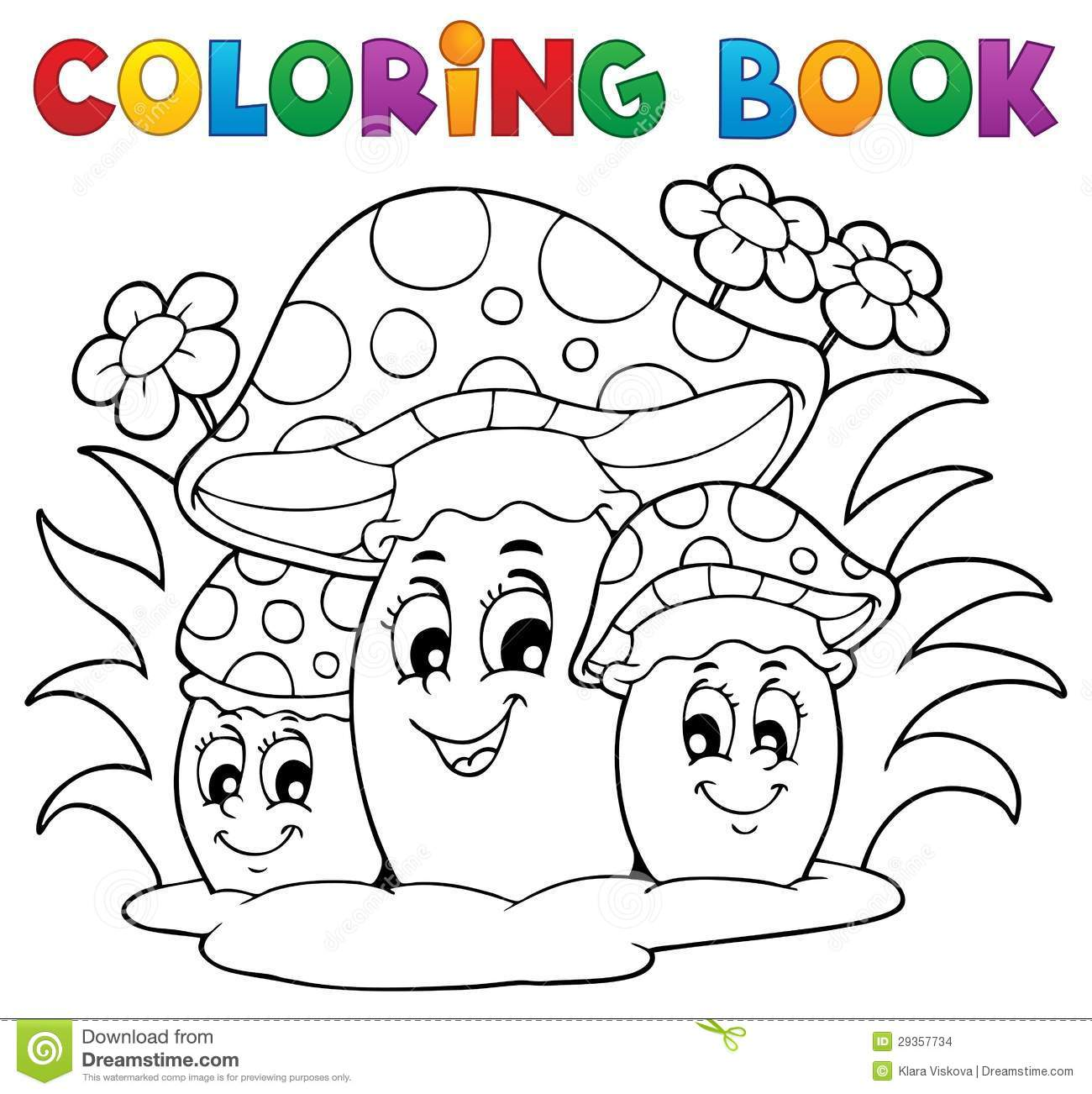 Coloring Book Mushroom Stock Vector  Image Of Drawing