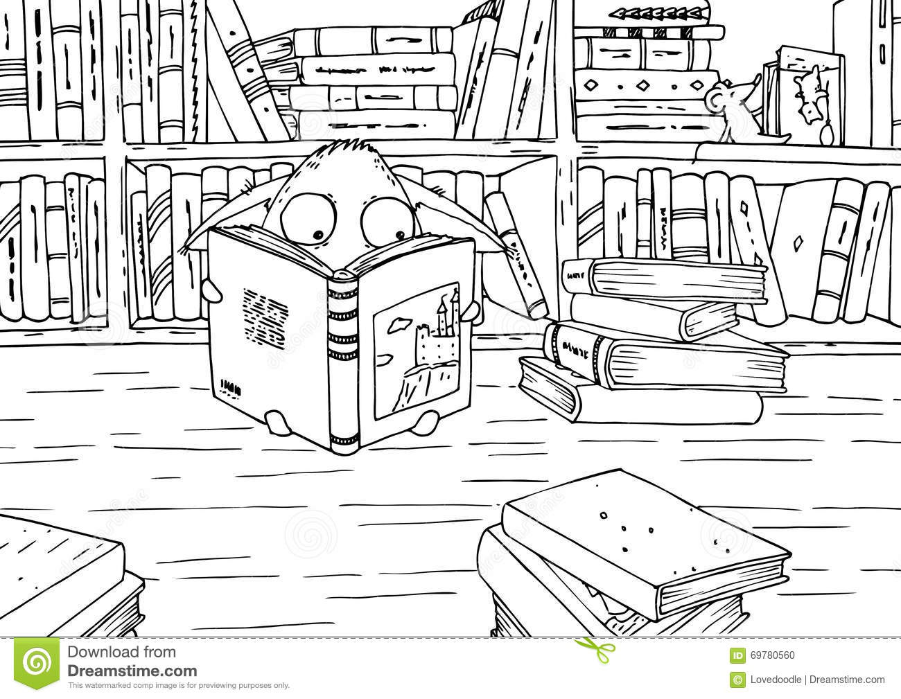 Coloring Page For Children  Little Monster In Library  Stock