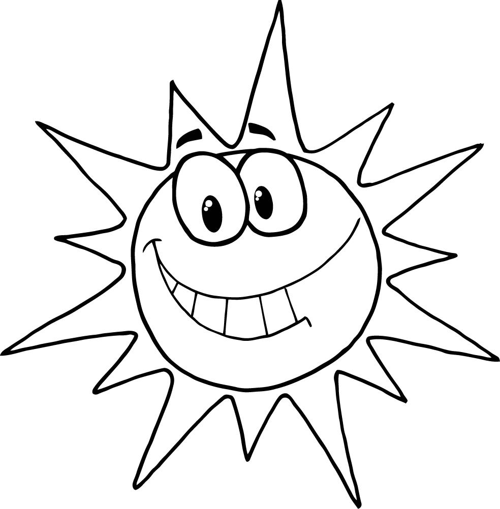 Coloring Page Of Cartoon Character Smiling Sun