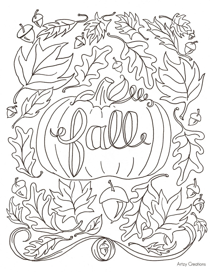 Coloring Pages Fall Free Page Artzycreations Within