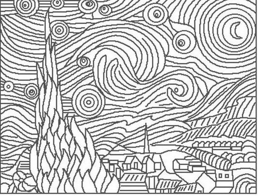 Coloring Pages  Starry Night Page  Breadedcat Free At Page