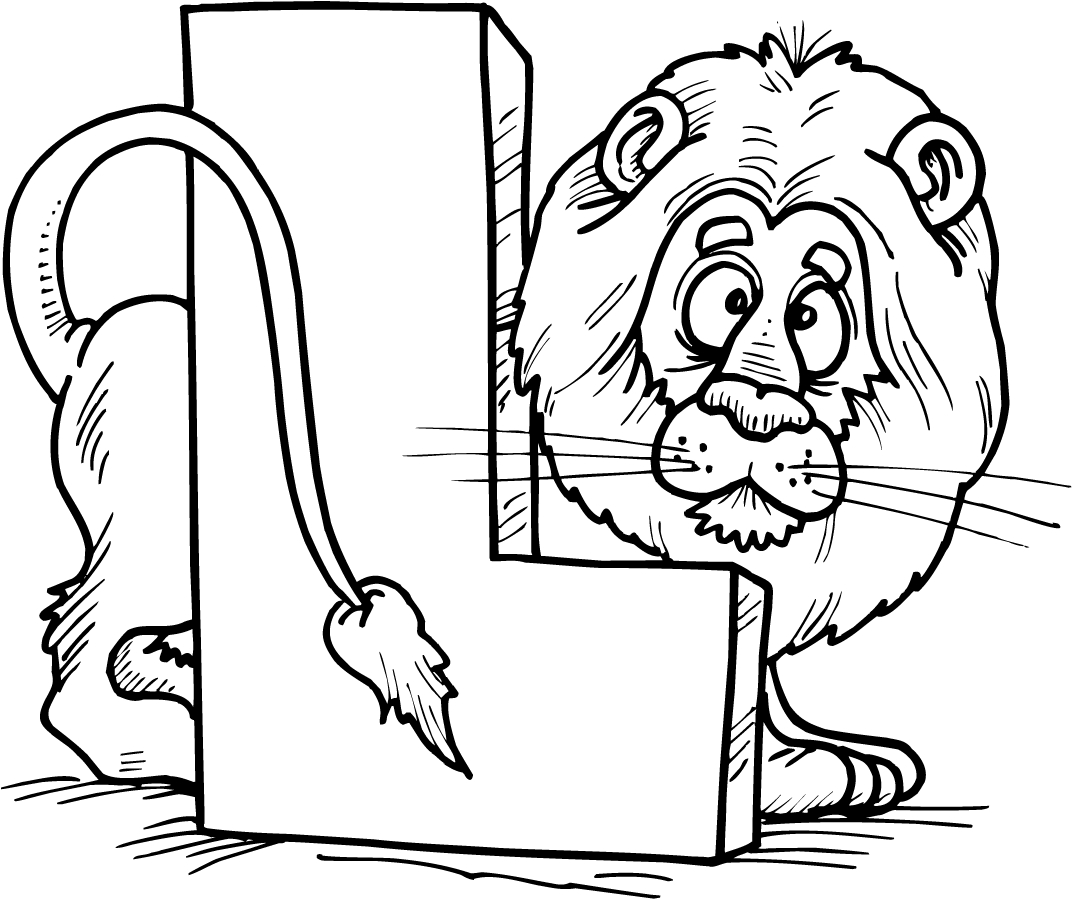 Colouring Page Of Letter L With A Lion