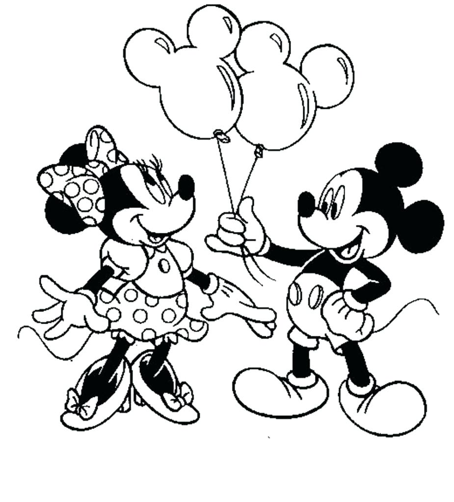 Couple Cartoon Mickey And Coloring Pages Com Printable Mistletoe