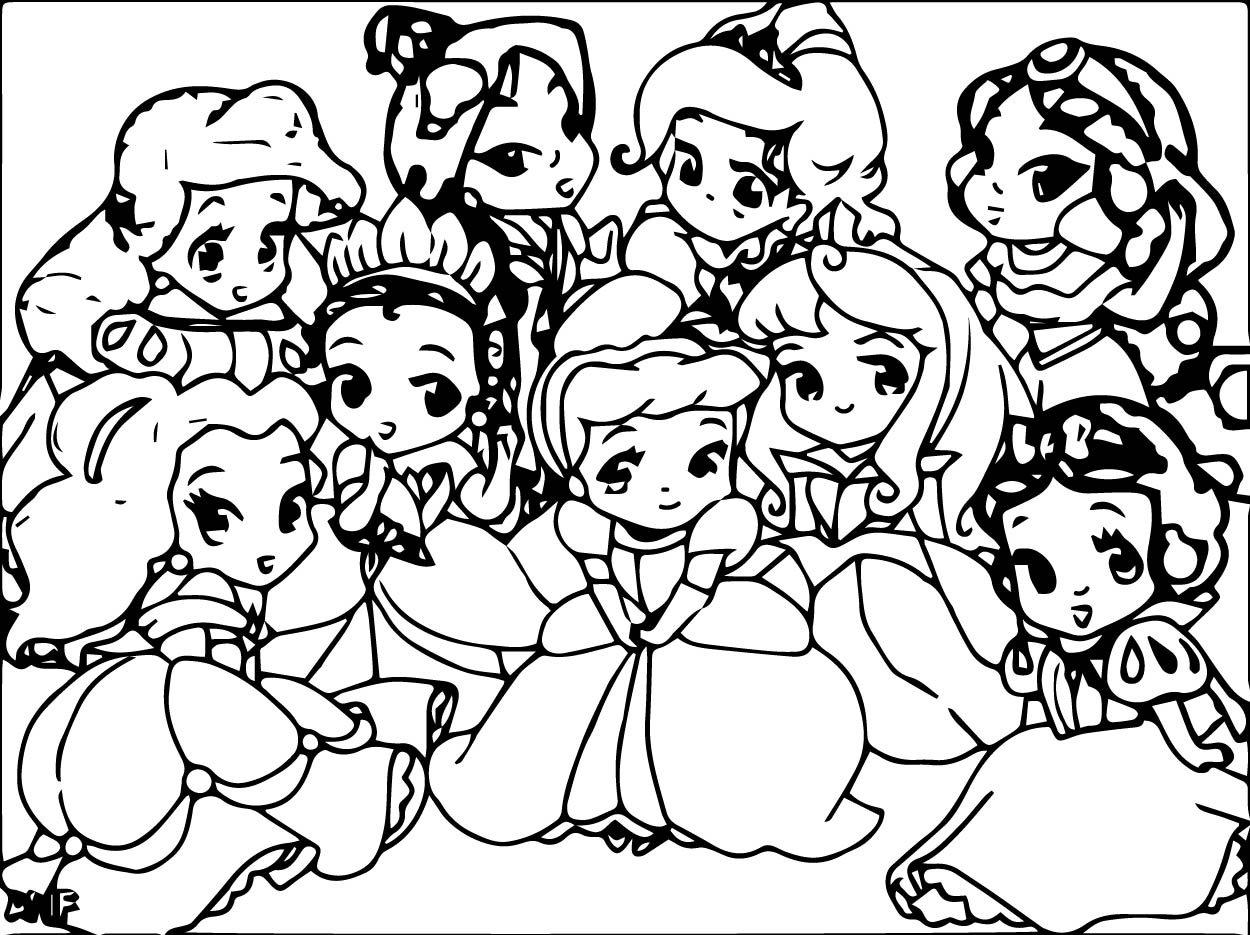 Cute Disney Princesses Coloring Pages Chibi
