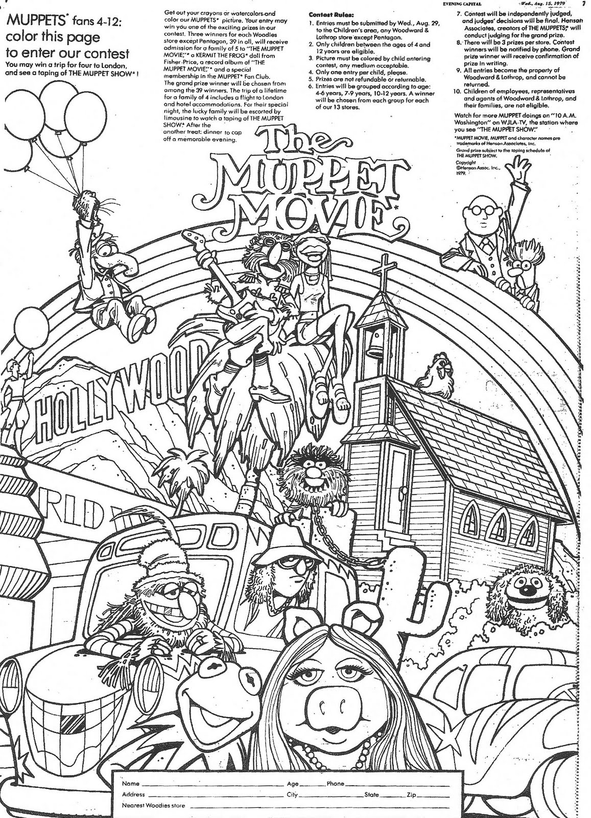 The Muppet Movie Coloring Contest, 1979