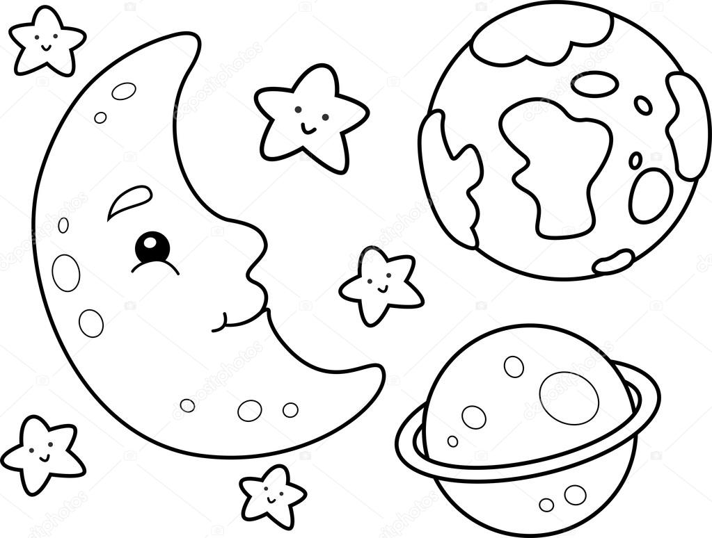 Outer Space Coloring Page — Stock Photo © Lenmdp  48930131