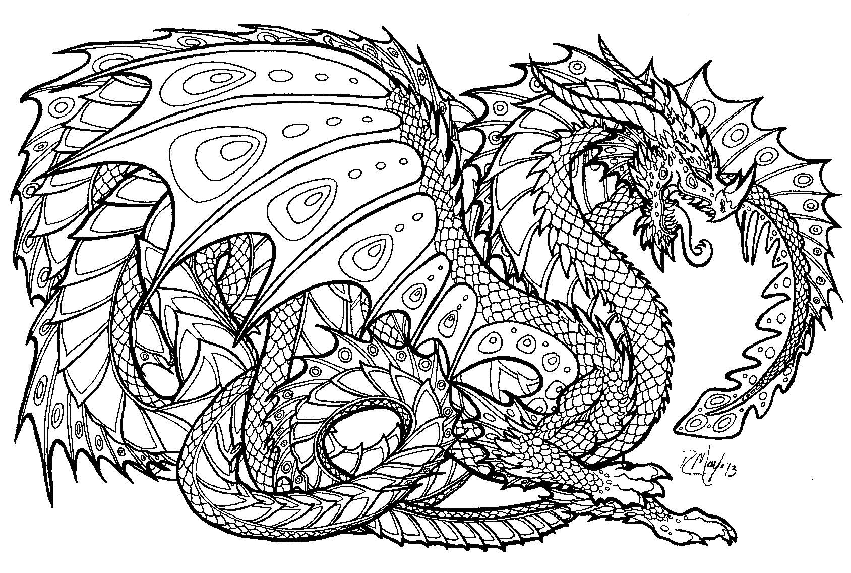 Detailed Coloring Pages For Adults Dragon