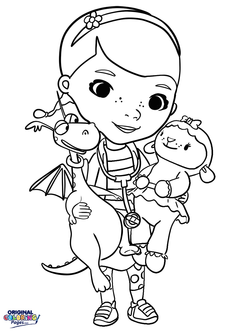 Doc Mcstuffins With Stuffed Animals Coloring Page – Coloring Pages