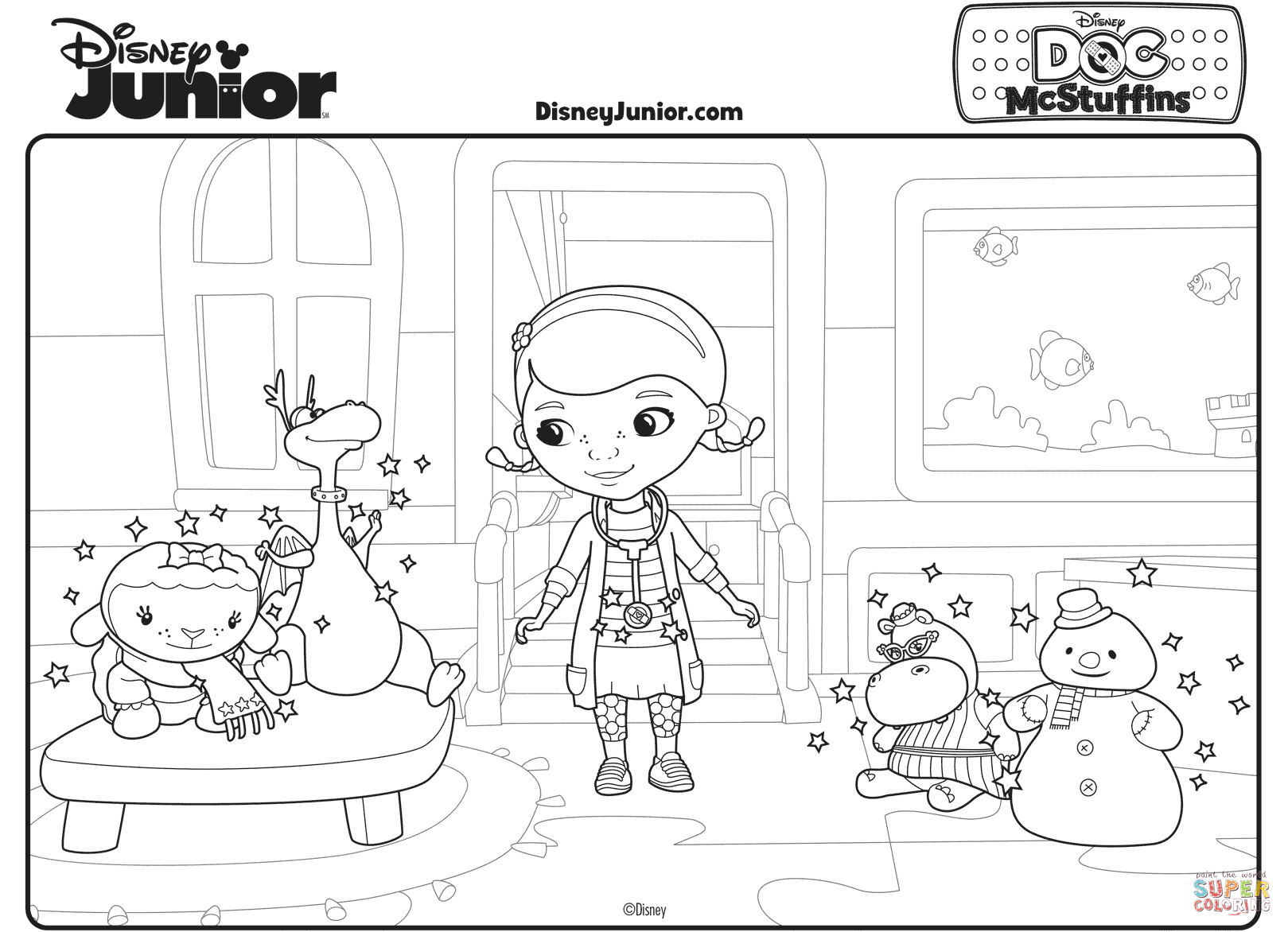 Doc Mcstuffins With Her Toy Friends Coloring Page Throughout