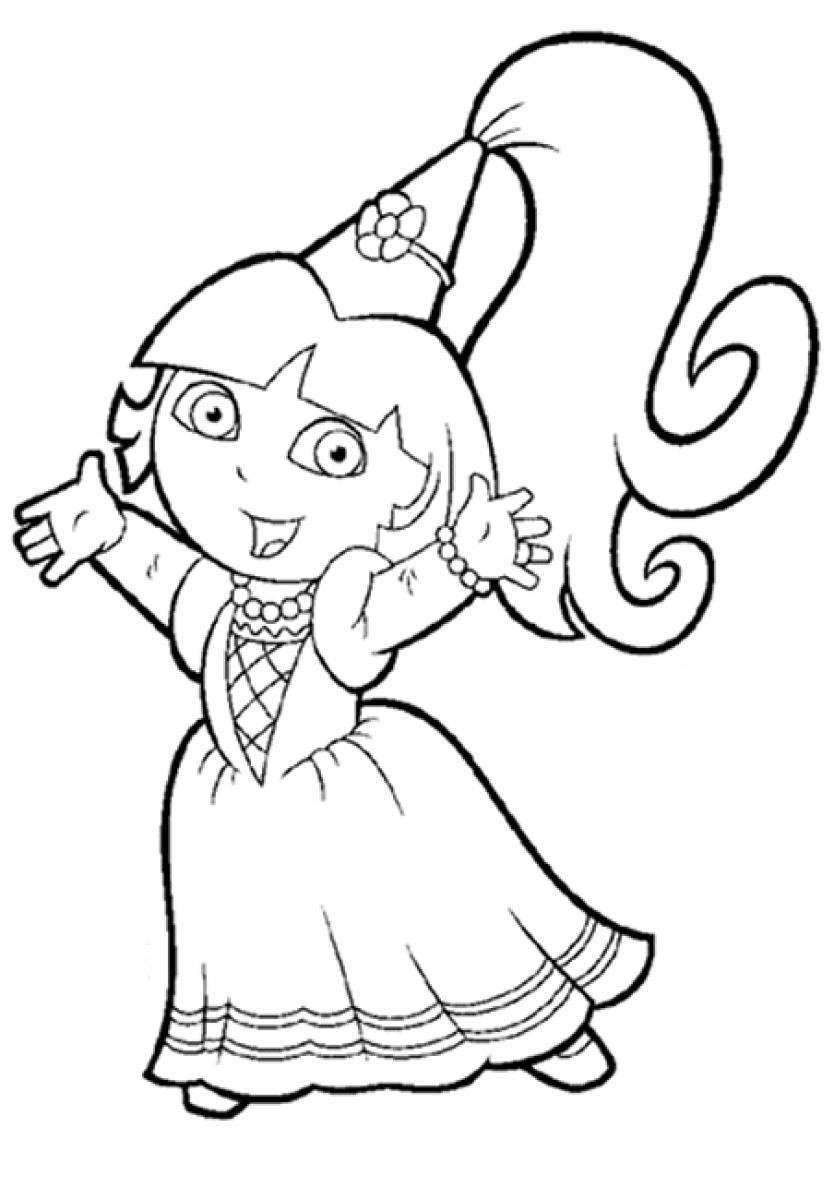 Dora Coloring Pages Princess Dora