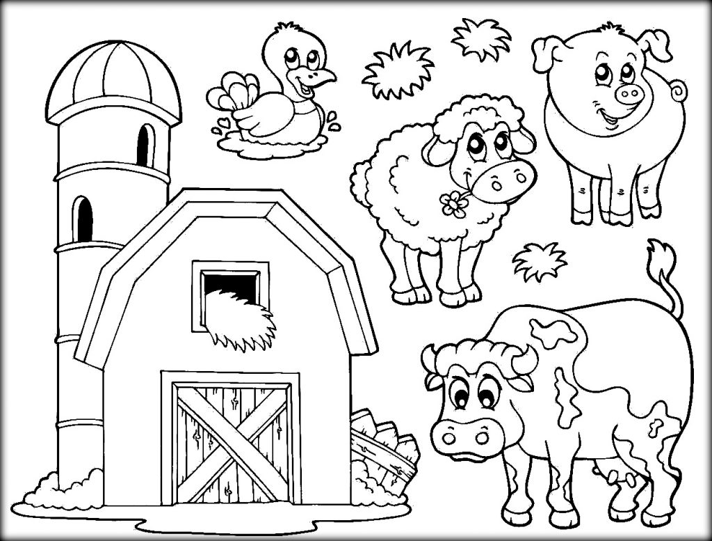 Download Farm Animals Coloring Pages For School Throughout
