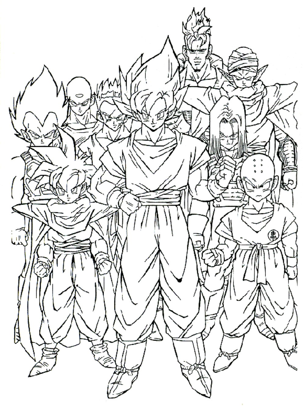 Dragon Ball Z Coloring Pages All Characters